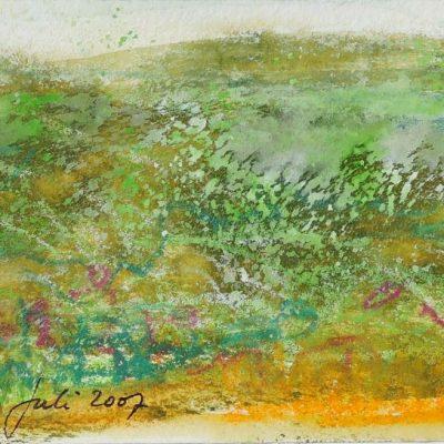 Aubrac, gouache en krijt, 8x15 cm. 2007