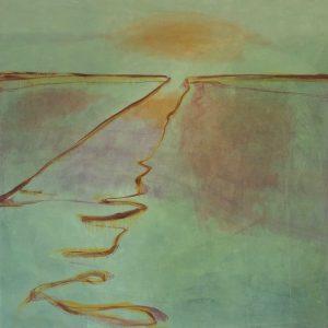 Sloot in zomerse tinten, 2020, olie op linnen 90x90 cm