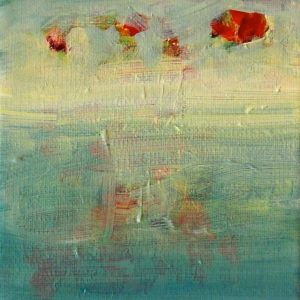 rode bloem in water, acryl 2015