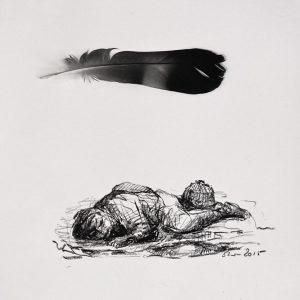 De droom, conté en veertje, 30x30 cm. 2015